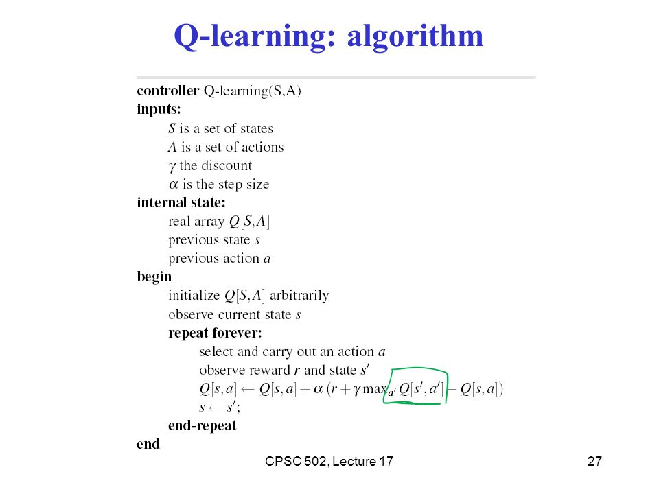 Q-learning: algorithm
