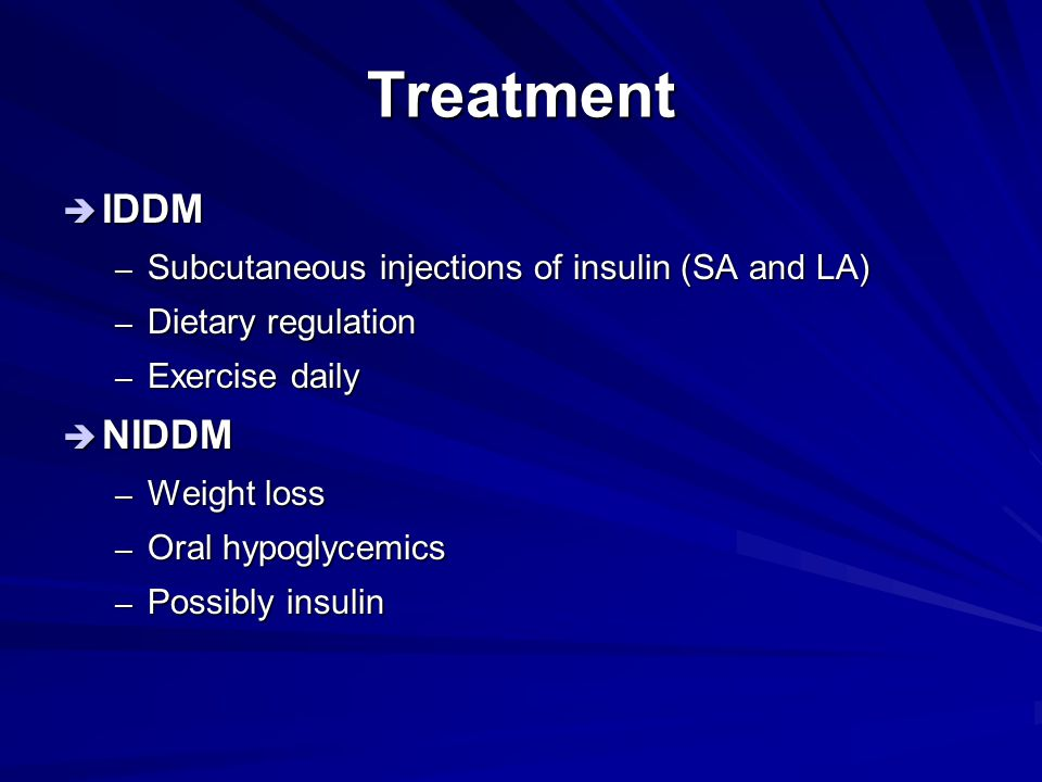 Treatment IDDM NIDDM Subcutaneous injections of insulin (SA and LA)