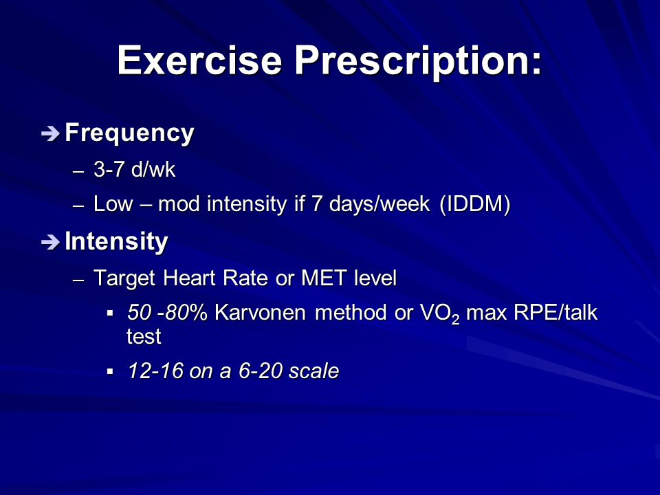 Exercise Prescription: