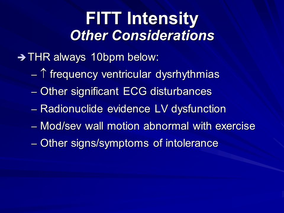 FITT Intensity Other Considerations