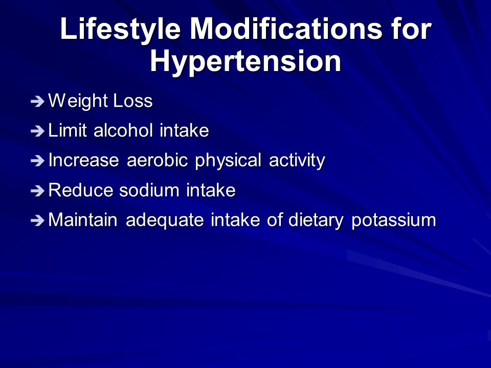 Lifestyle Modifications for Hypertension