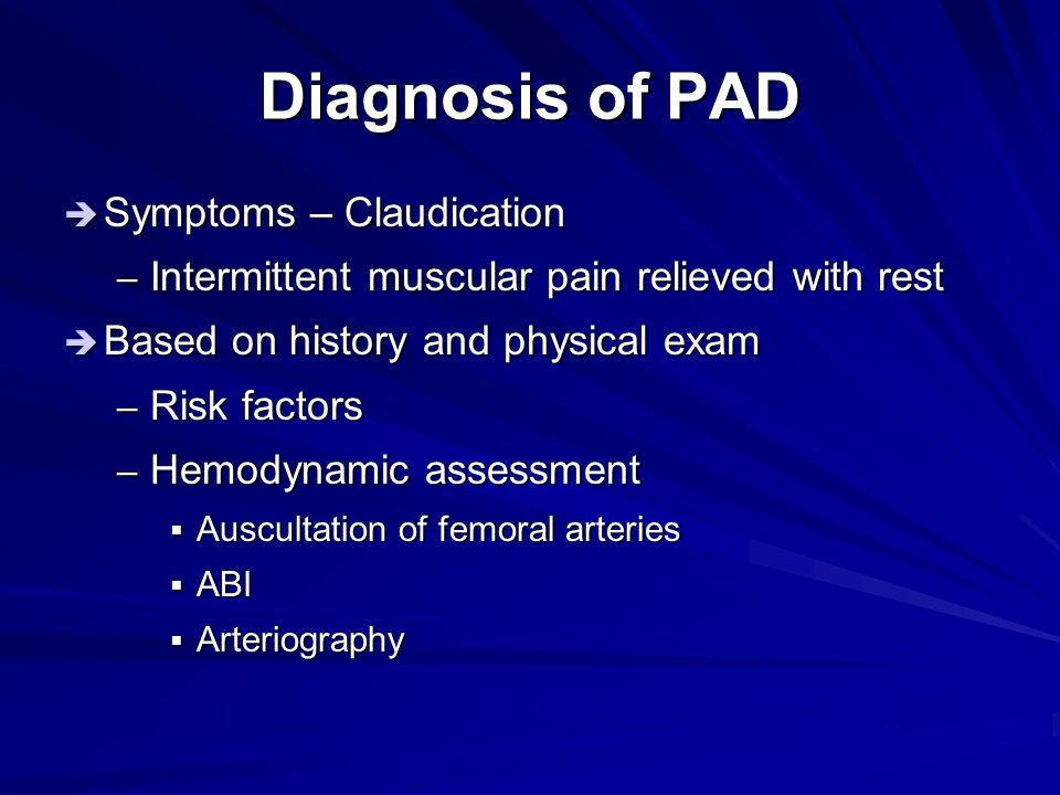 Diagnosis of PAD Symptoms – Claudication