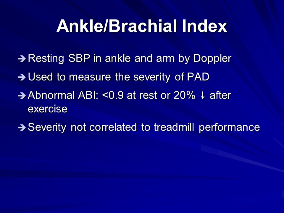 Ankle/Brachial Index Resting SBP in ankle and arm by Doppler