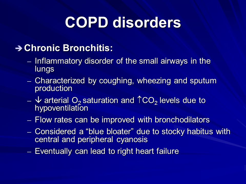 COPD disorders Chronic Bronchitis: