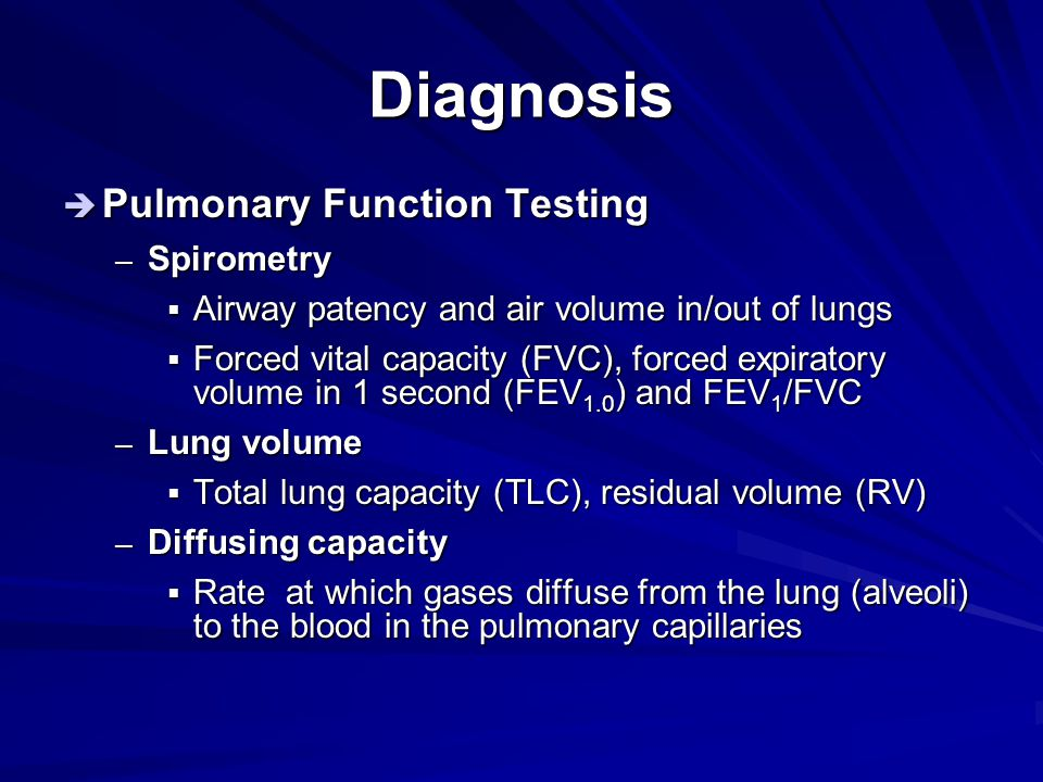 Diagnosis Pulmonary Function Testing Spirometry