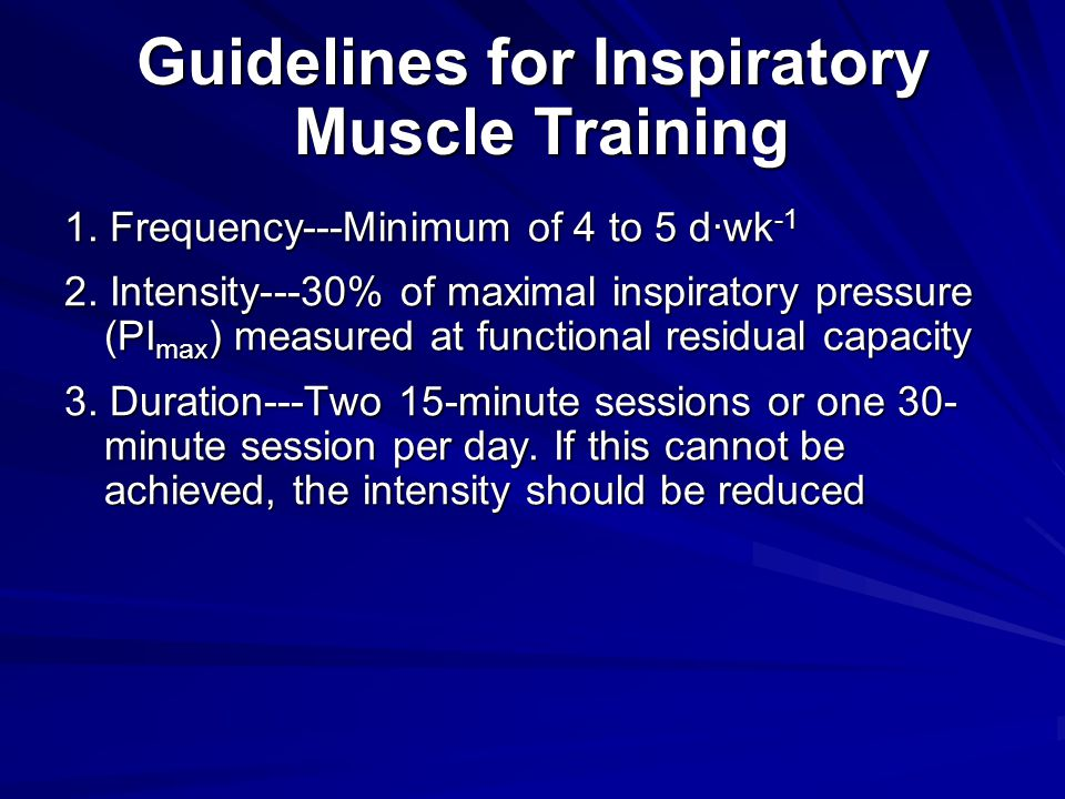Guidelines for Inspiratory Muscle Training