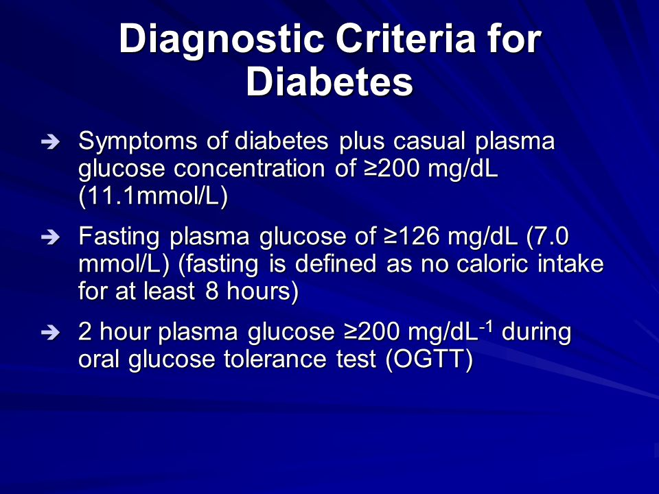 Diagnostic Criteria for Diabetes
