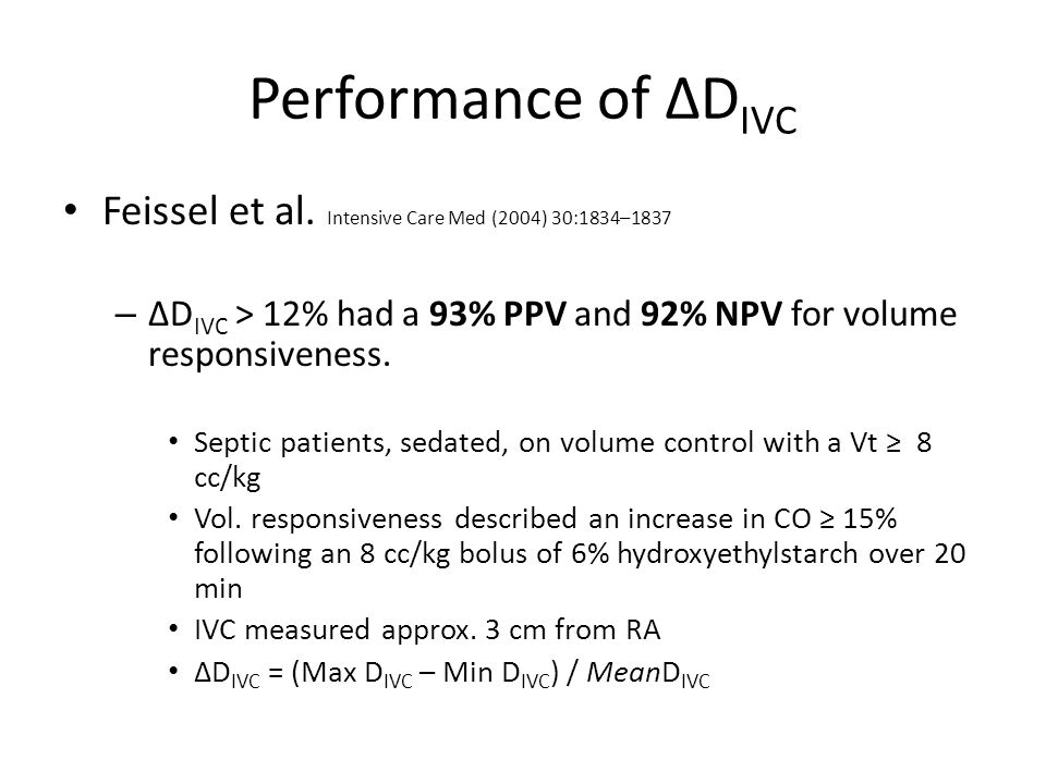 Performance of ΔDIVC Feissel et al. Intensive Care Med (2004) 30:1834–1837. ΔDIVC > 12% had a 93% PPV and 92% NPV for volume responsiveness.