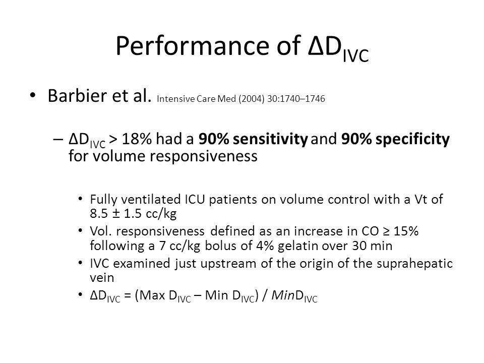 Performance of ΔDIVC Barbier et al. Intensive Care Med (2004) 30:1740–1746.