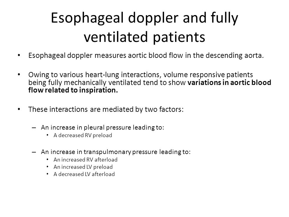Esophageal doppler and fully ventilated patients