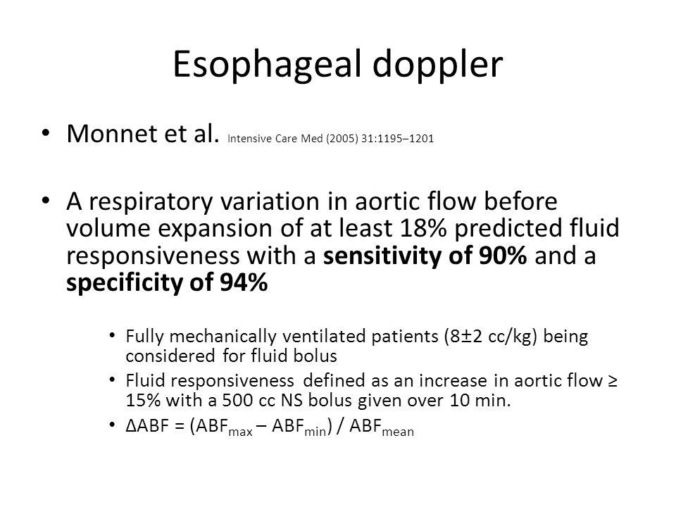 Esophageal doppler Monnet et al. Intensive Care Med (2005) 31:1195–1201.