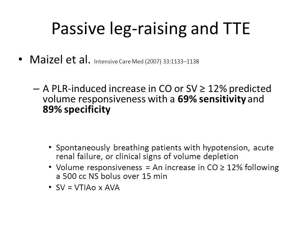 Passive leg-raising and TTE