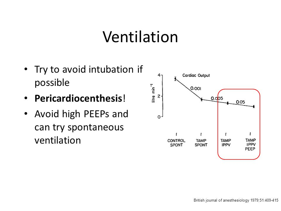 Ventilation Try to avoid intubation if possible Pericardiocenthesis!