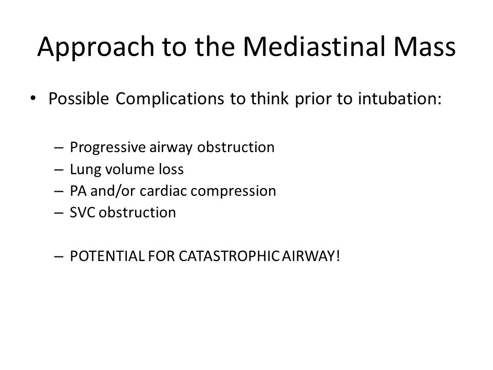 Approach to the Mediastinal Mass