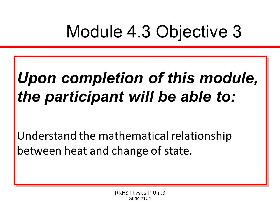 Module 4.3 Objective 3 Upon completion of this module, the participant will be able to: