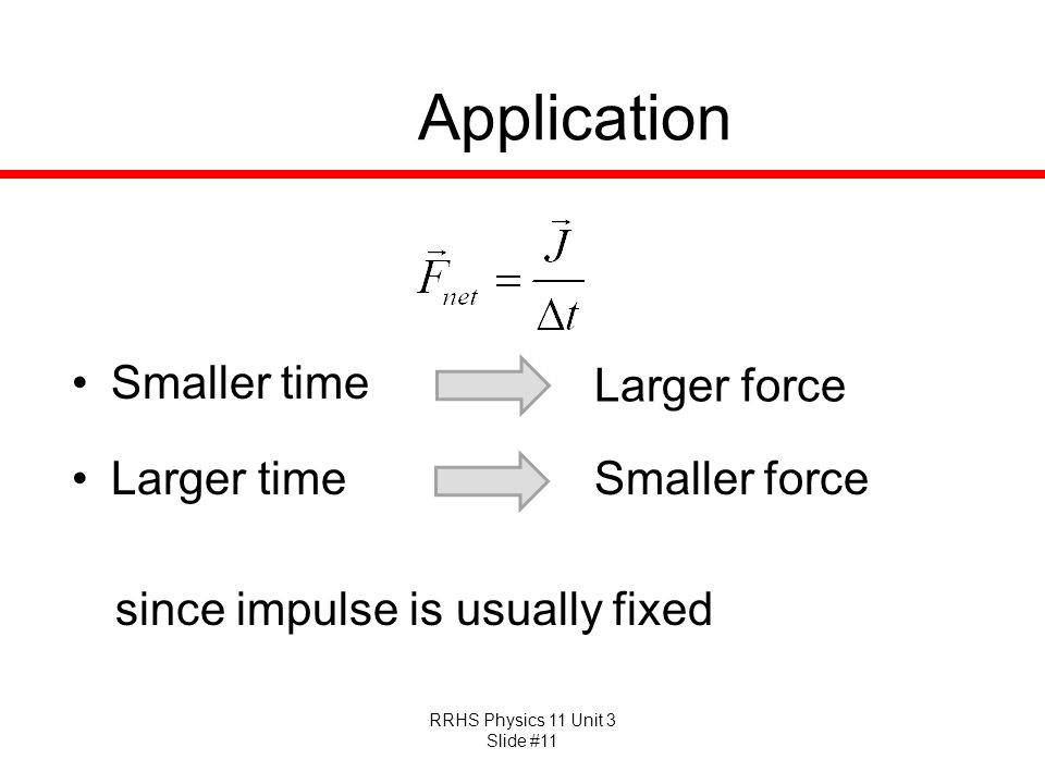 Application Smaller time Larger force Larger time Smaller force