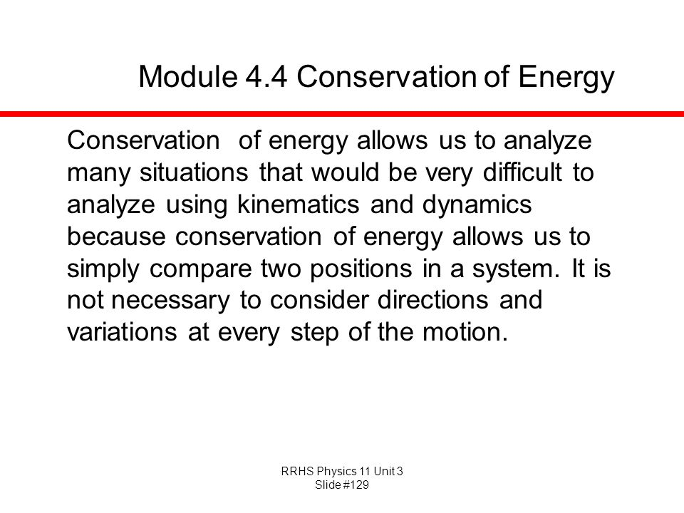 Module 4.4 Conservation of Energy