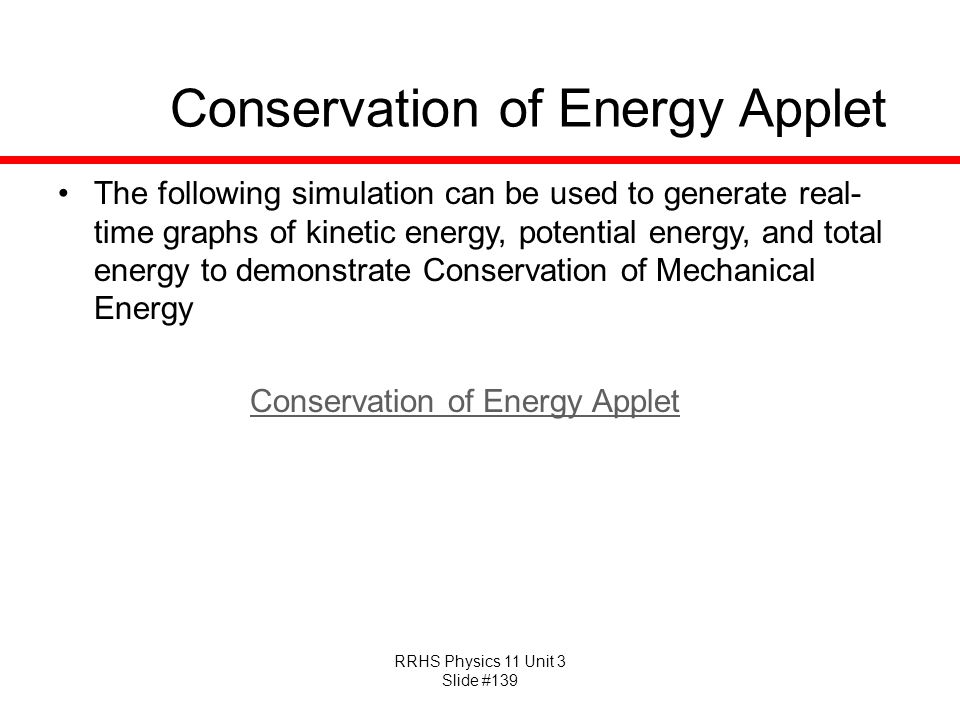 Conservation of Energy Applet