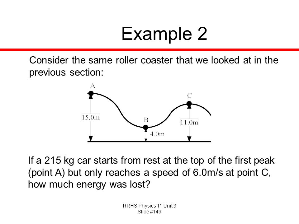 Example 2 Consider the same roller coaster that we looked at in the previous section: