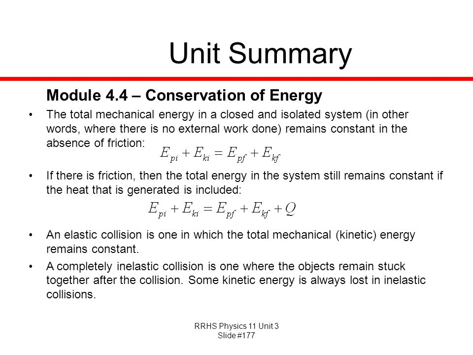 Unit Summary Module 4.4 – Conservation of Energy