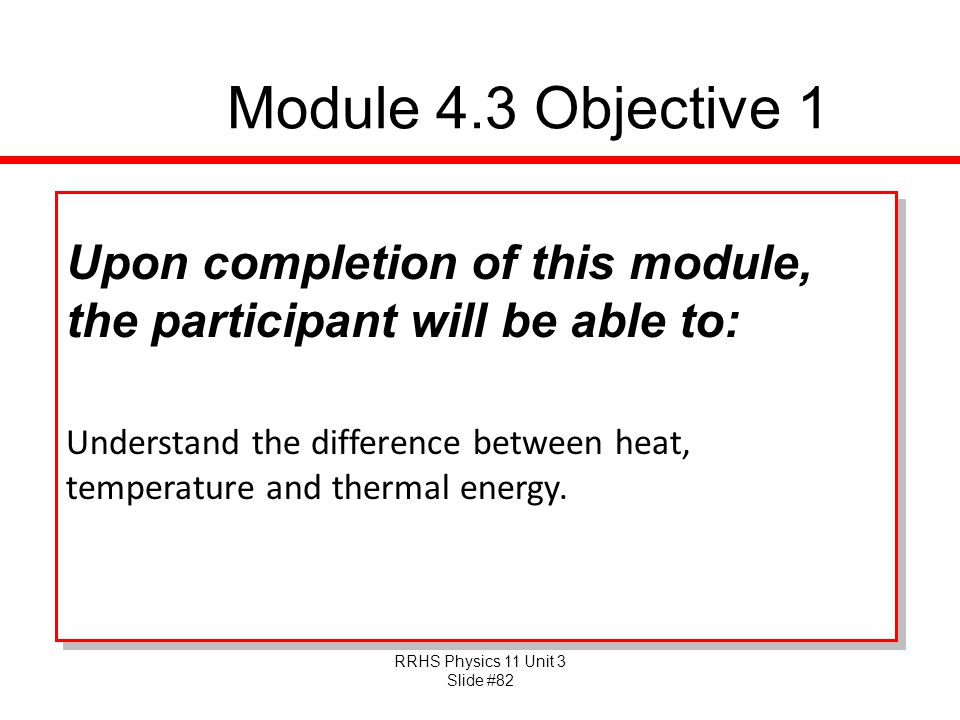 Module 4.3 Objective 1 Upon completion of this module, the participant will be able to: