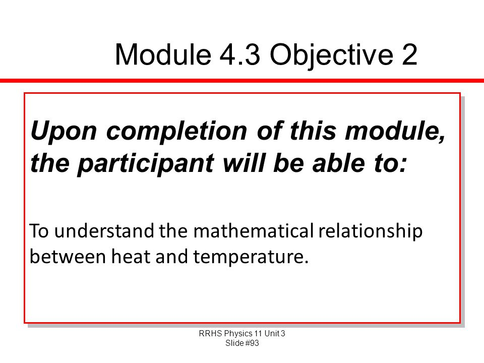 Module 4.3 Objective 2 Upon completion of this module, the participant will be able to: