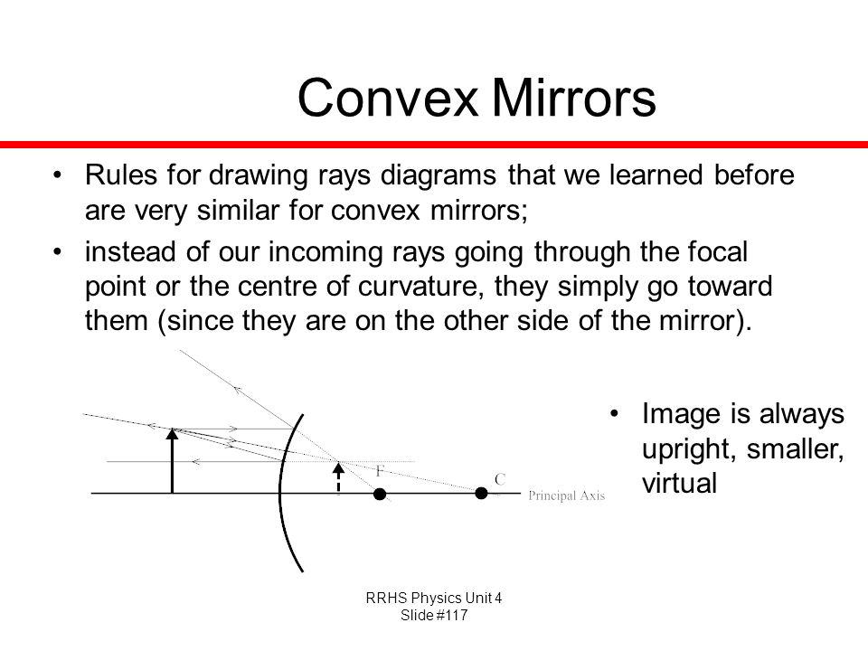 Convex Mirrors Rules for drawing rays diagrams that we learned before are very similar for convex mirrors;
