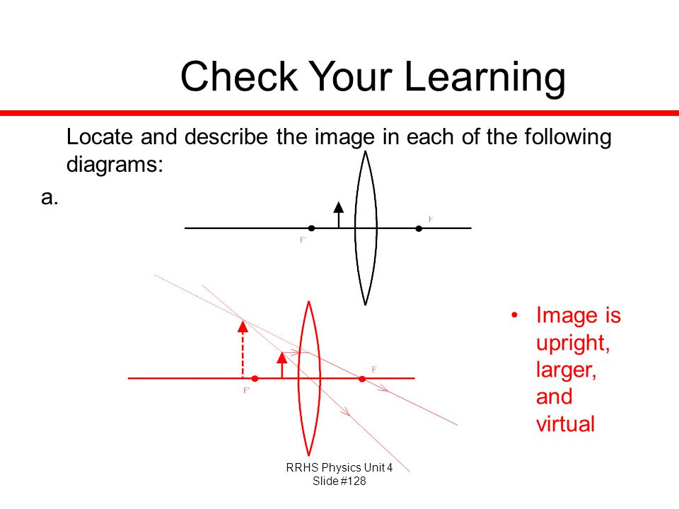 Check Your Learning Locate and describe the image in each of the following diagrams: Image is upright, larger, and virtual.