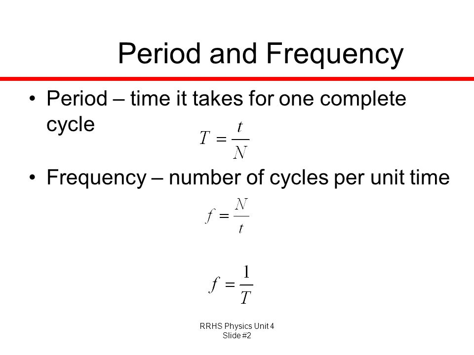 Period and Frequency Period – time it takes for one complete cycle