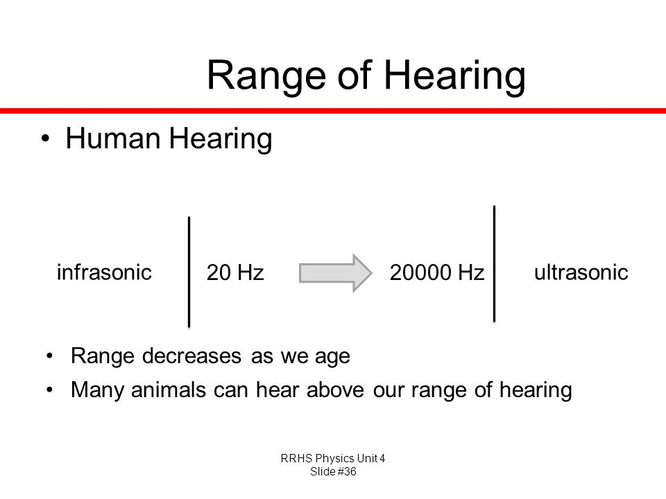 Range of Hearing Human Hearing infrasonic 20 Hz Hz ultrasonic