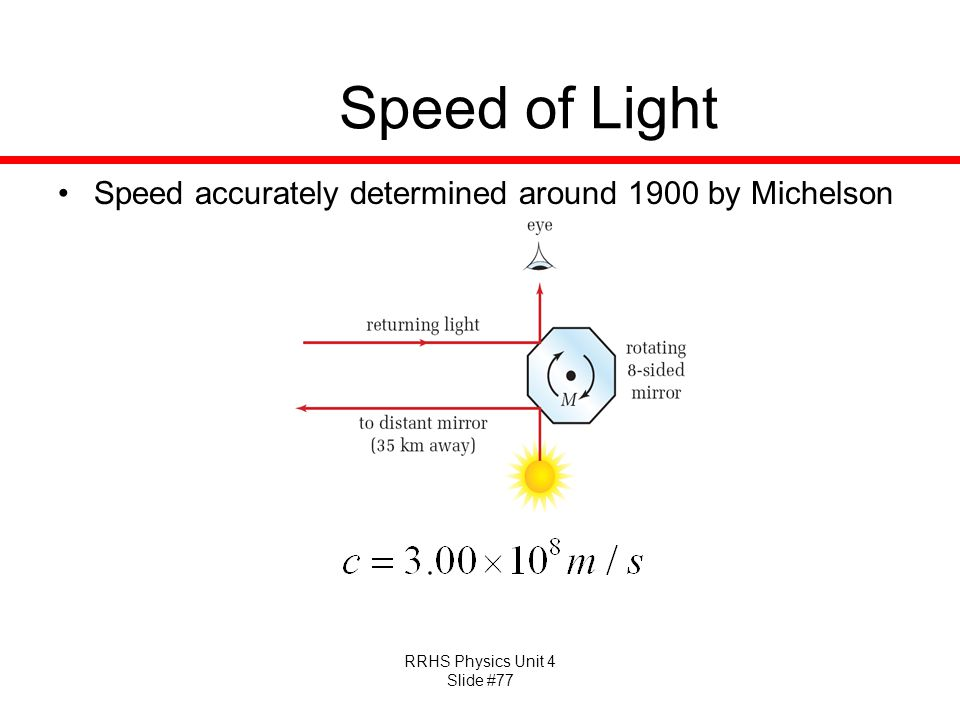 Speed of Light Speed accurately determined around 1900 by Michelson