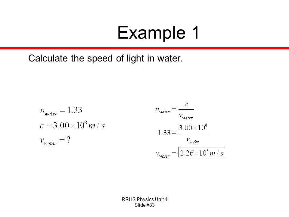 Example 1 Calculate the speed of light in water.