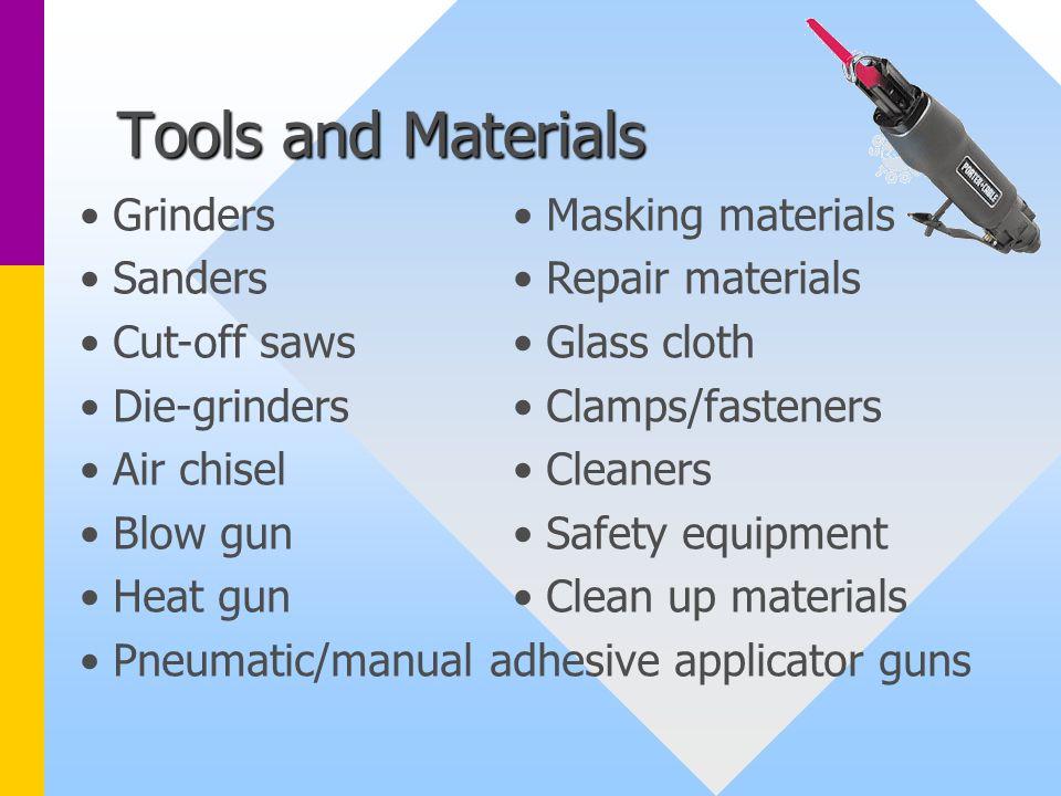 Tools and Materials Grinders Sanders Cut-off saws Die-grinders
