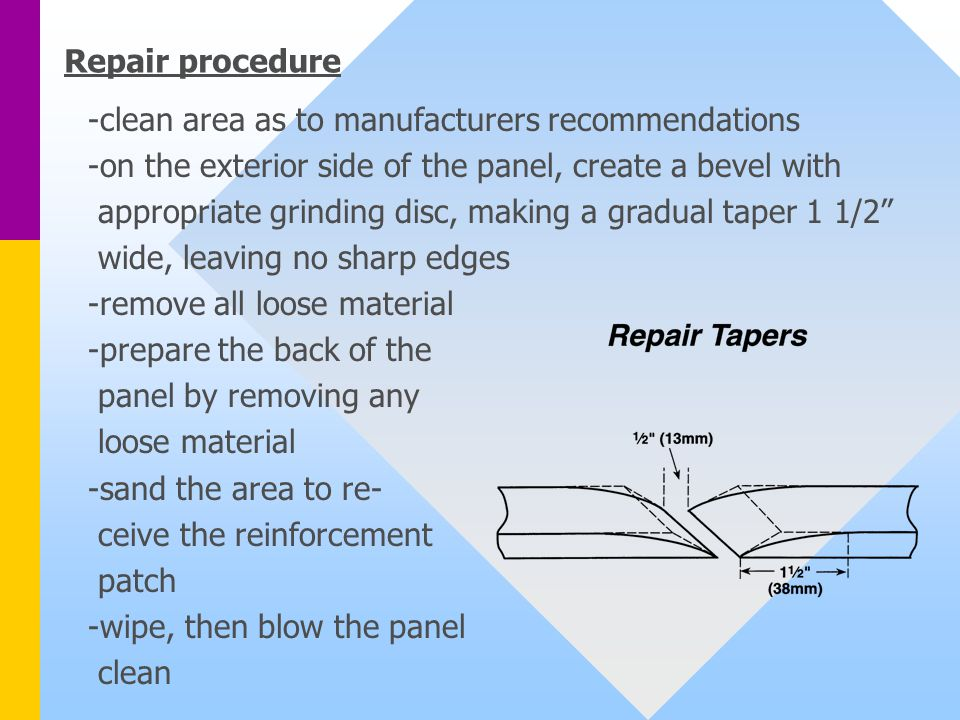 Repair procedure -clean area as to manufacturers recommendations. -on the exterior side of the panel, create a bevel with.