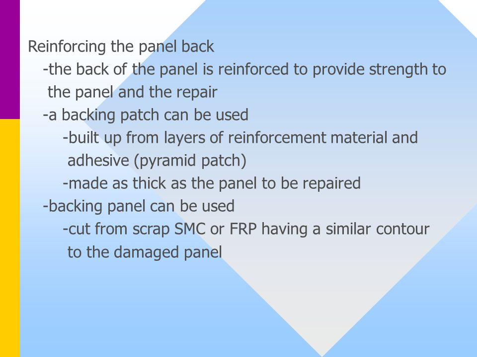 Reinforcing the panel back