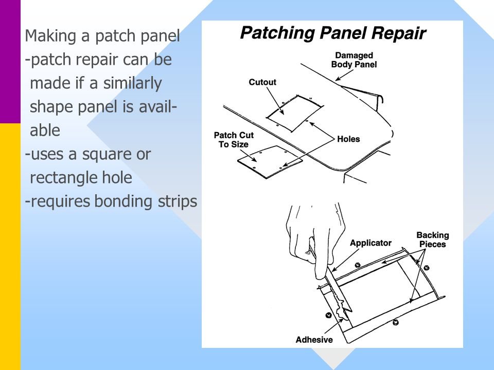 Making a patch panel -patch repair can be. made if a similarly. shape panel is avail- able. -uses a square or.