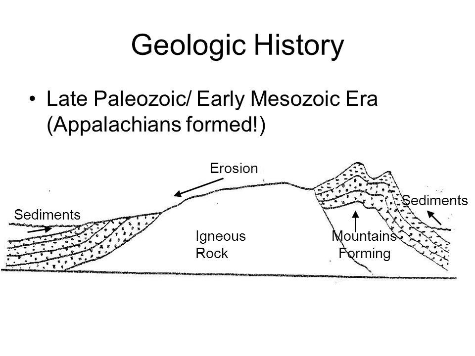 Geologic History Late Paleozoic/ Early Mesozoic Era (Appalachians formed!) Erosion. Sediments. Sediments.