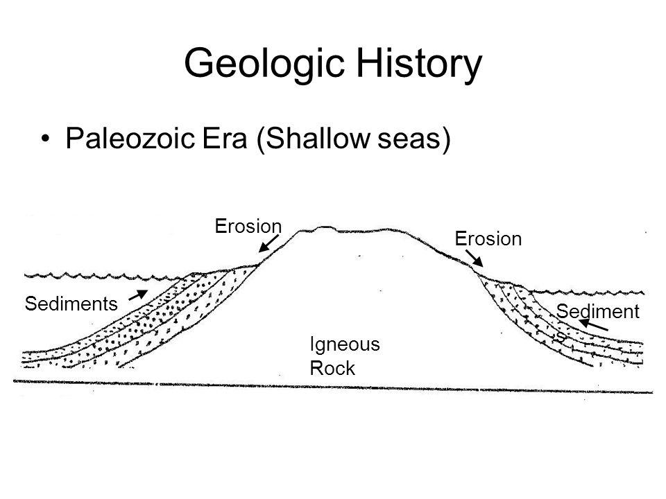 Geologic History Paleozoic Era (Shallow seas) Erosion Erosion