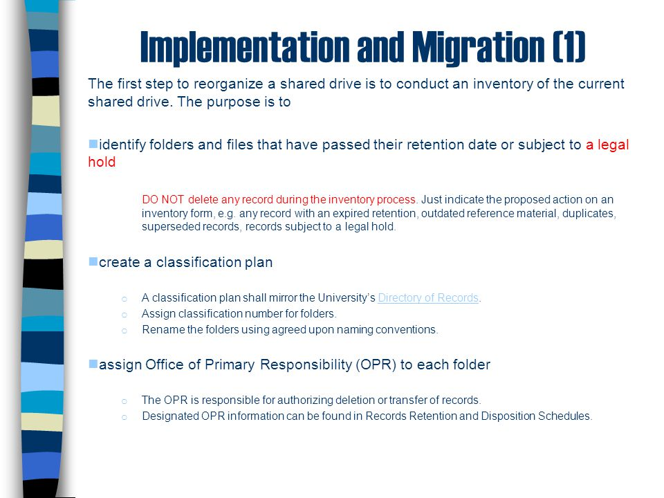 Implementation and Migration (1)