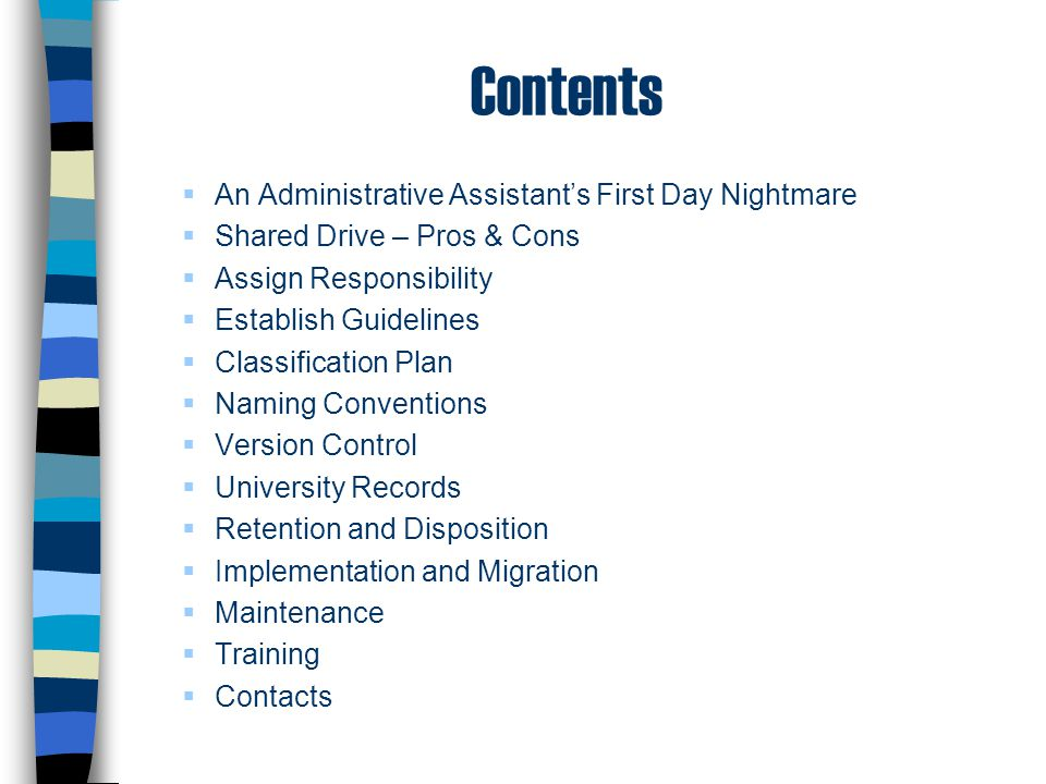 Contents An Administrative Assistant's First Day Nightmare