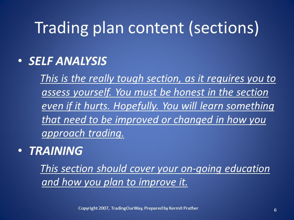 Trading plan content (sections)