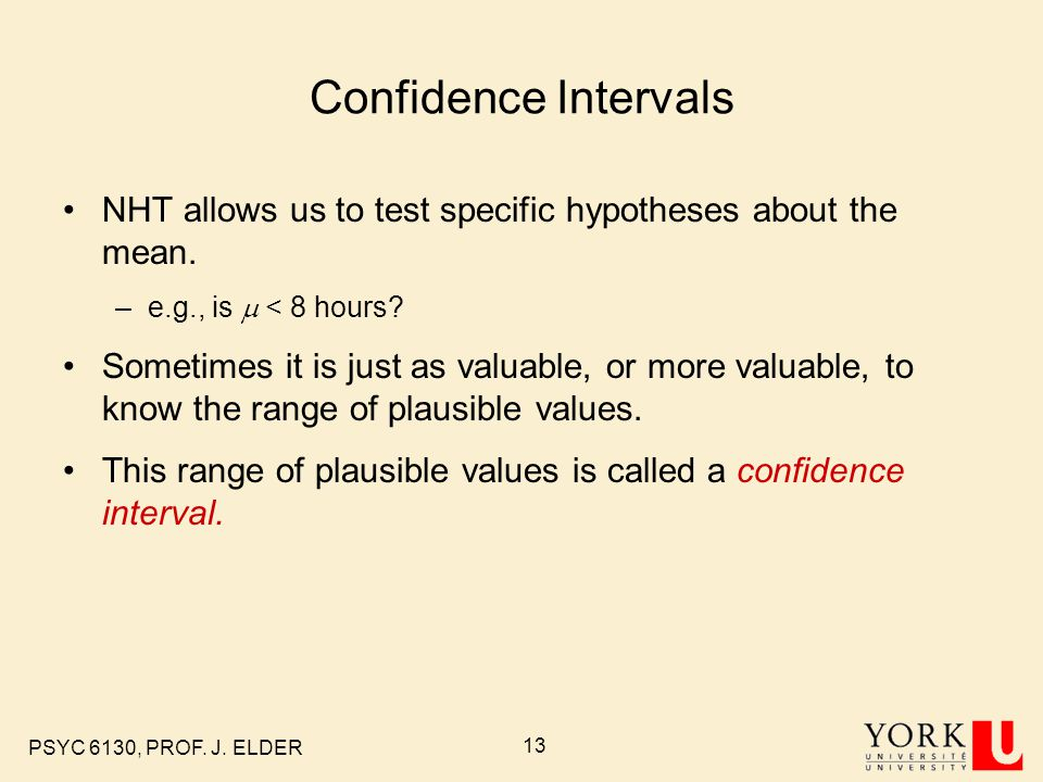 Confidence Intervals NHT allows us to test specific hypotheses about the mean. e.g., is m < 8 hours