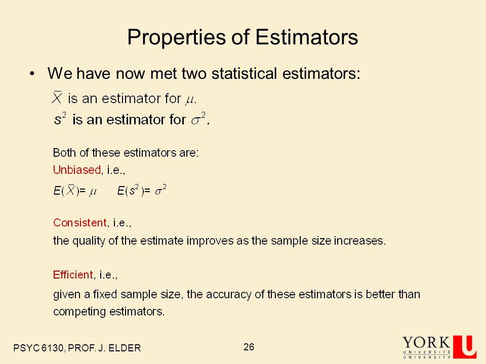 Properties of Estimators