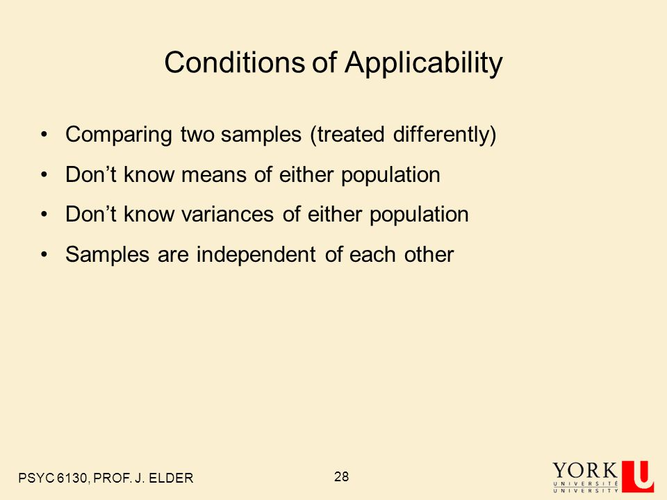 Conditions of Applicability