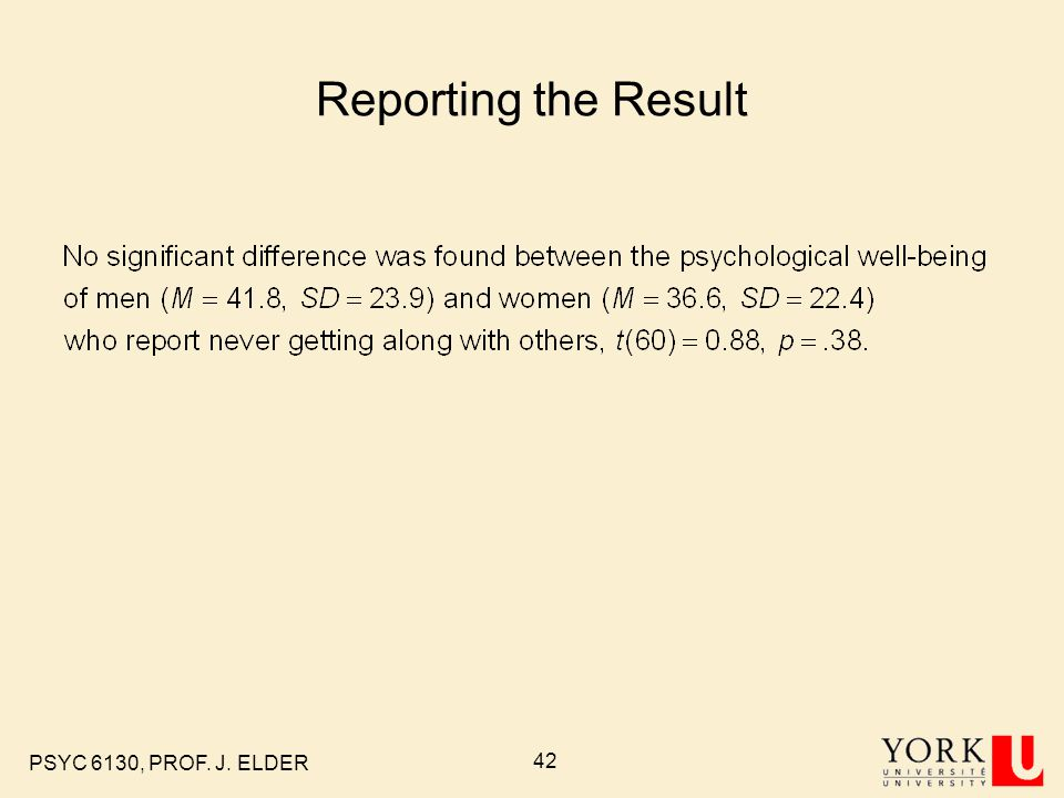 Reporting the Result PSYC 6130, PROF. J. ELDER