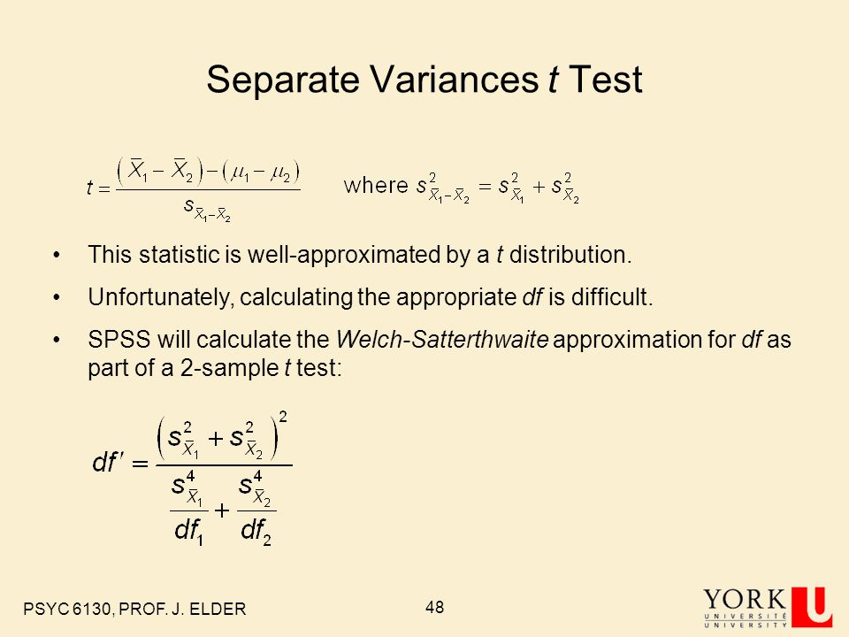 Separate Variances t Test