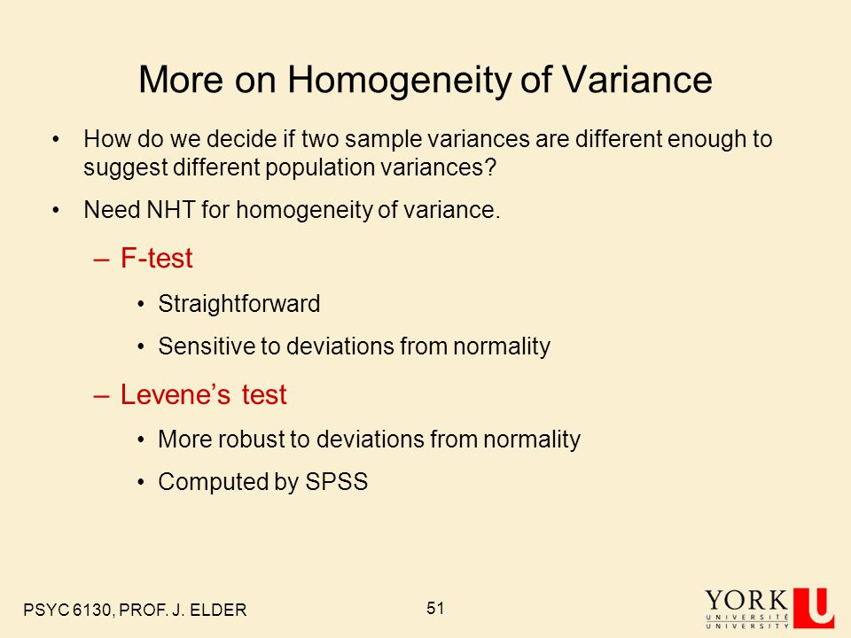More on Homogeneity of Variance