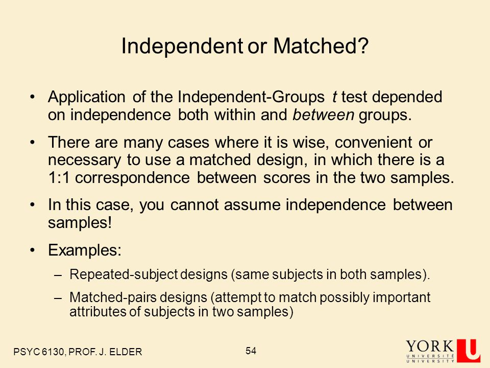 Independent or Matched