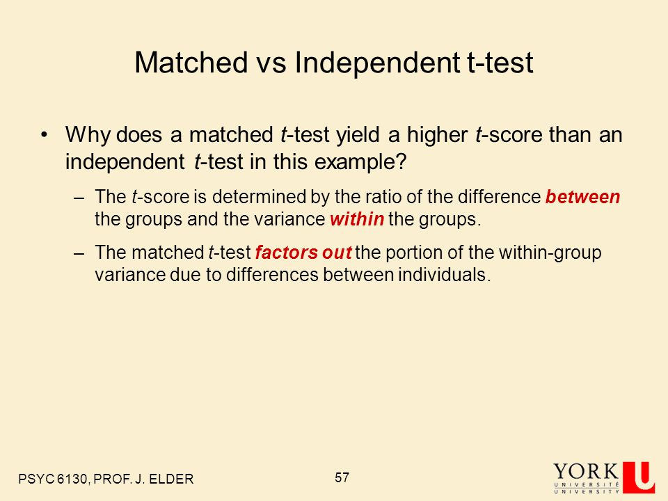 Matched vs Independent t-test