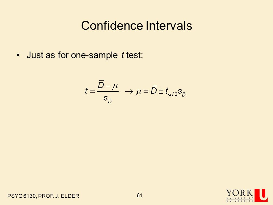 Confidence Intervals Just as for one-sample t test: